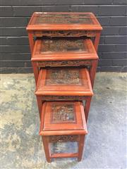 Sale 9006 - Lot 1077 - Carved Chinese Nest of 4 Tables (h:68 x w:51 x d:37cm)