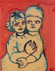 Sale 9067 - Lot 544 - Mirka Mora (1928 - 2018) - Young Girls Embracing, 1960 62 x 49 cm (frame: 69 x 56 x 2 cm)