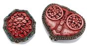 Sale 9074 - Lot 364 - TWO VINTAGE CHINESE BROOCHES; an octagonal and an heart shape metal brooch each set with floral carved cinnabar panels, 35mm & 48 x...