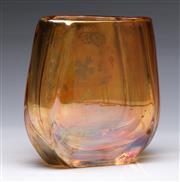 Sale 9090 - Lot 91 - Zelezny Brod Sklo golden amber etched floral spray vase (H15.5cm)