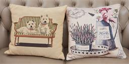 Sale 9098H - Lot 46 - Two linen faced throw cushions, 40cm x 40cm