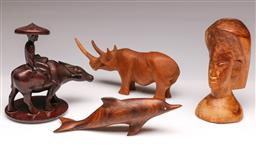 Sale 9104 - Lot 58 - A group of wooden items including dolphin