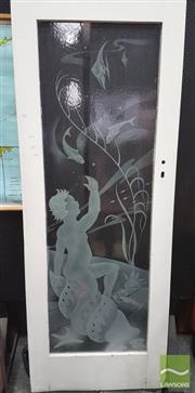 Sale 8383 - Lot 1001 - Large Vintage Etched Door with Underwater Scene