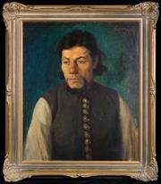 Sale 8486A - Lot 3 - János Csermely 1882-1963, Hungarian - Portrait of a Pensive Man 60 x 49cm