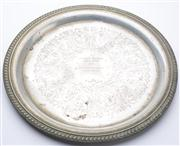 Sale 8528A - Lot 28 - A silver plated circular tray commemorating the 1975 National Western Horse Show Open Working Hunter Championship, with foliate and...