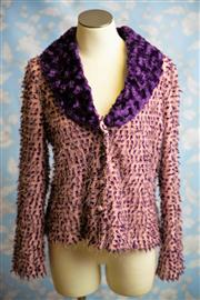 Sale 8577 - Lot 98 - A Charlie Brown pink and mauve faux fur collared long sleeve top, size 16, Condition: Very Good