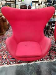 Sale 8777 - Lot 1035 - Reproduction Jacobsen Egg Chair in Red