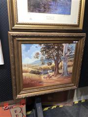 Sale 8824 - Lot 2047 - Mark Keiser - Australian Outback Scene with Cattle, 1972, oil on board, frame size: 71 x 81cm, signed lower left