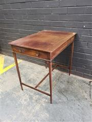 Sale 9048 - Lot 1058 - Late Georgian Mahogany Side Table, of delicate proportions, with shallow frieze drawer, tapering legs & stretcher base (h:74 x w:75...