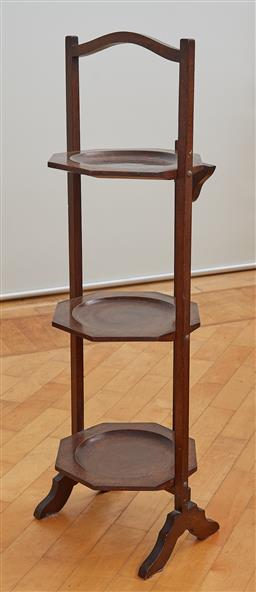 Sale 9098H - Lot 47 - A vintage mahogany three tier cake stand, Height 80cm x Width 27cm