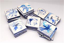 Sale 9107 - Lot 59 - A Collection of Blue and White Tiles (Each 10cm x 10cm)