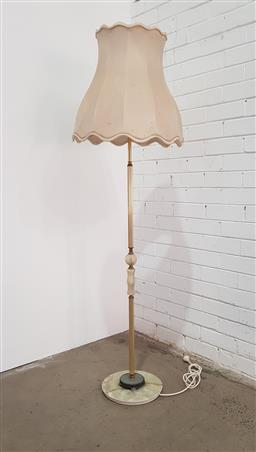 Sale 9129 - Lot 1010 - Brass & marble or onyx floor lamp (h165cm)
