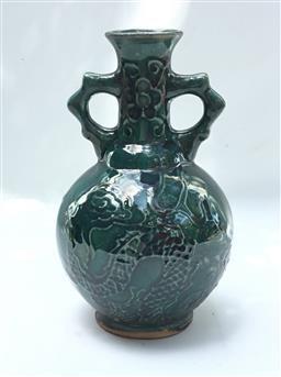 Sale 9175G - Lot 74 - A Ceramic Vase (General wear , some discoloured ,some glaze worn). Size 20cm H x 14cm D