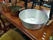 Sale 8507 - Lot 1071A - Copper Pan with Double Handle, Copper Pan with Single Handle (H 11cm x D 27cm - H 12cm x D 28cm) Together with Another Example (3)