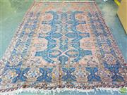Sale 8576 - Lot 1082 - Antique Caucasian Kilim, with abstract geometric motifs in red & blue tones (267 x 194cm)