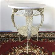 Sale 8649R - Lot 2 - Wrought Iron Round Outdoor Table with Marble Top (H: 81cm Dia: 60cm)
