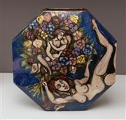 Sale 8741A - Lot 16 - An Angela Ireland (UK) porcelain octagonal vase hand painted with nudes in a landscape, H x 41cm