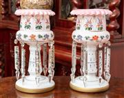 Sale 8804A - Lot 46 - A pair of Victorian milk glass lustre vases with polychrome flowers and prismatic drops, Height 33cm