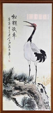 Sale 8935D - Lot 637 - A Framed Chinese Painting of A Crane (102cm x 49.5cm)