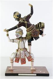 Sale 8968 - Lot 48 - A Pair Of Bangkok Dolls (Hanuman Vs Nilapat) (42cm x 25cm)