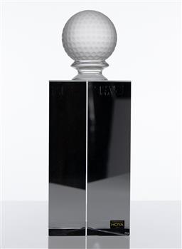 Sale 9255H - Lot 47 - A Hoya crystal triangular desk ornament, with golf ball finial, Height 22cm, RRP $960.