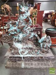 Sale 8444 - Lot 1085 - Pair of Large Bronze Swirling Dragons, riding on clouds, raised on lotus throne pedestals