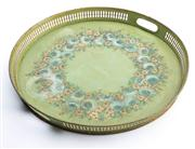 Sale 8528A - Lot 18 - A green tole tray with galleried side and wreath of roses, D 40cm