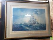 Sale 8573 - Lot 2032 - DArcy Doyle - The Arrival of the First Fleet 73.5 x 96cm (frame)