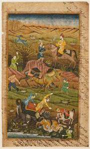 Sale 8613 - Lot 2007 - Indo-Persian School - Hunting Scene 26 x 15.5