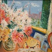 Sale 8633 - Lot 586 - George Brooke (1913 - 1993) - American in Paris, c1952 49 x 48cm