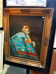 Sale 8631 - Lot 2020 - Artirst Unknown - Carpet Merchant 103 x 81cm (frame)