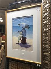 Sale 8824 - Lot 2040 - Decorative Print of a Man on the Beach, frame size: 53 x 42cm