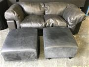 Sale 9026 - Lot 1090 - Pair of Black Leather 2 Seater Lounges (h:47 x w:180cm)