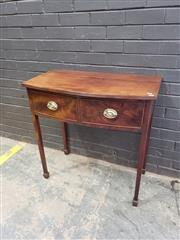 Sale 9048 - Lot 1030 - George III Mahogany Bow Front Side Table, with reeded edge, two drawers with brass handles & tapering legs with spade feet (h:83 x w...