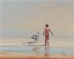 Sale 9133 - Lot 585 - David Hagan (1943 - ) Boy & Pelican oil on canvas laid on board 39.5 x 49.5 cm, (frame: 59 x 69 x 5 cm) signed lower right