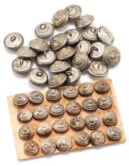 Sale 9190E - Lot 44 - A collection of white metal Victorian buttons in two sizes, smaller marked Smith & Wright