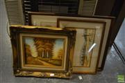 Sale 8458 - Lot 2076 - Group of (3) Original Artworks by Various Artists Mountain, River and Forest Scene, each signed lower