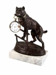 Sale 8586A - Lot 113 - An antique French bulldog cast metal om marble pocket watch holder, the watch as found, H 23 cm