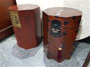 Sale 8676 - Lot 1005 - Two Japanese Oak Octagonal Lift Lid Boxes