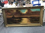 Sale 8836 - Lot 2067 - Angelo Perini - Coastal Scene, oil on board, frame 80 x 155cm, signed lower right -