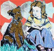 Sale 8959A - Lot 5011 - David Bromley (1960 - ) - Girl with Dog 88.5 x 94 cm (frame: 108 x 113 x 5 cm)