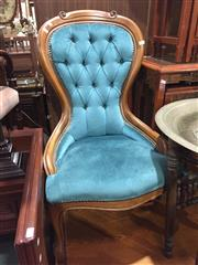 Sale 9006 - Lot 1075 - Buttoned Back Grandmother Chair (h:90 x w:54cm)