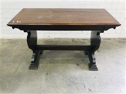 Sale 9097 - Lot 1071 - Renaissance Style Hall Table, with two shaped end supports with stretcher (h:76 x w:122 x d:55cm)