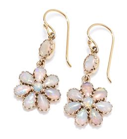 Sale 9213 - Lot 356 - A PAIR 9CT GOLD OPAL CLUSTER DROP EARRINGS; featuring daisy clusters and surmount set with round and pear shape solid crystal opals...