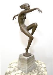 Sale 8341A - Lot 22 - Josef Lorenzl, Austrian (1892-1950), Tanzerin, bronze figure c1925, cast as a nude in dancing pose, on onyx plinth, H 35cm
