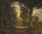 Sale 8519 - Lot 572 - Leon Richet (1843 - 1907) - Forest de Fontainbleu 38 x 46cm