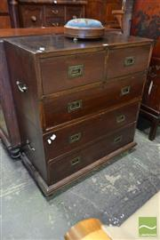 Sale 8520 - Lot 1018 - English Colonial Campaign Chest of Five Drawers, probably teak, in two sections, with inset brass handles