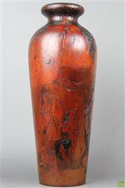 Sale 8626 - Lot 41 - Carved Timber Vase Depicting Erotic Oriental Scene ( H 47cm)