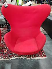 Sale 8777 - Lot 1033 - Reproduction Jacobsen Egg Chair in Red