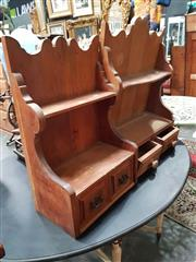 Sale 8925 - Lot 1061 - Two pine wall mounting kitchen shelf units